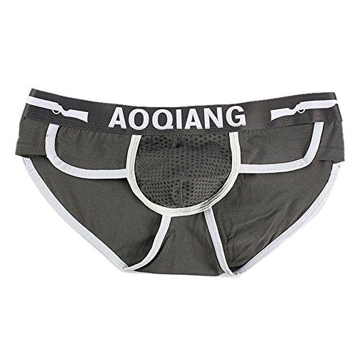 KPILP Mode Männer Herren Boxershorts Shorts weiche Baumwolle Unterwäsche Ausbeulen Beutel Unterhose Unterhosen(Grau,M)