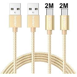 iVoler Câble USB C à USB A 3.0 (Lot de 2 / 2M+2M) en Nylon Cordon Chargeur USB Type C Charge Rapide et Synchro pour Dispositifs Qui Supportent USB C (Or)