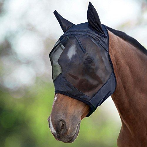 Harrison Howard CareMaster Maschera anti-mosche per cavallo UV protezione con para orecchie (L; Full Size)