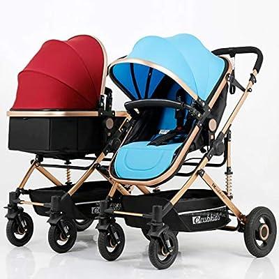 BABY CARRIAGE ZLMI Cochecito de bebé Gemelo Alto Paisaje Sentado/Respaldo Ligero Plegable Desmontable Ultra Ligero Amortiguador BB Trolley 0-3 años de Edad,Winered+Blue