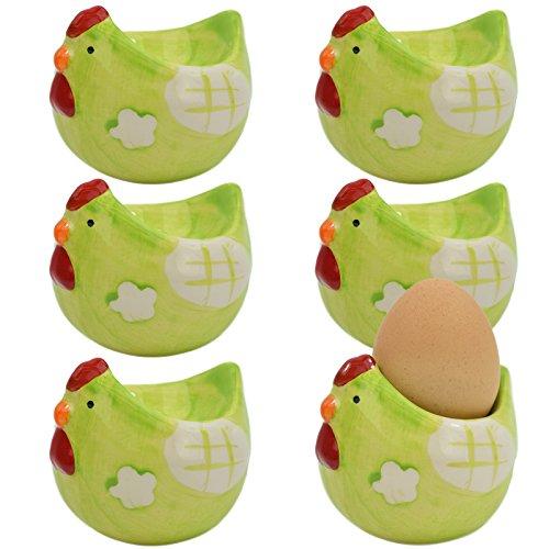 'My de goodbuy24 Set de Coquetiers en Céramique poule Finition de haute qualité - peint à la main/chaque un unique - vert - 7,5 x 6,8 x 6,8 cm, Céramique, vert, 7,5 x 6,8 x 6,8 cm