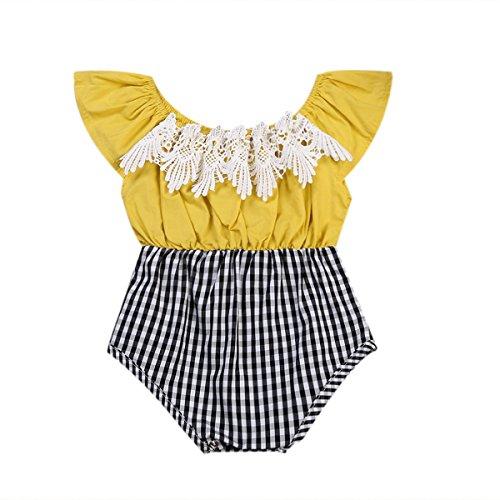 SCFEL Neugeborene Baby Ritter Spitze Flutter Hülse O-Ausschnitt Bodysuit Outfits (0-6 Monate)