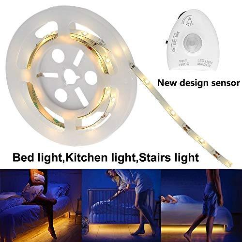 FGKING Unter Bettwchtung, LED-Kabinette Beleuchtung Streifen, LED Motion aktivierte Bett-Licht 4ft Flexible Strippenlichter, wasserdicht, für unter Gegen Küchenbeleuchtung,2.4m/8ft -