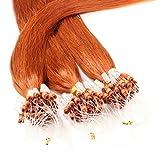Hair2Heart 25 x 0.5g Microring Loop Extension Capelli Veri - 40cm - Liscio, Colore #130 rame rosso