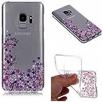 QFUN Funda Samsung Galaxy S9 Plus Silicona Transparente, Suave Carcasa Flexible con Dibujos [Flor de Cerezo Morado] Ultra Slim Fina Gel TPU Bumper Case Anti-Arañazos Antigolpes Cubierta