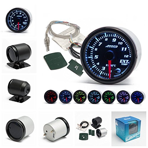 Epman ad-ga52egt 5,1cm/52MM 7colori LED auto gas di scarico Temp gauge Ext Temp Meter Egt con sensore e supporto