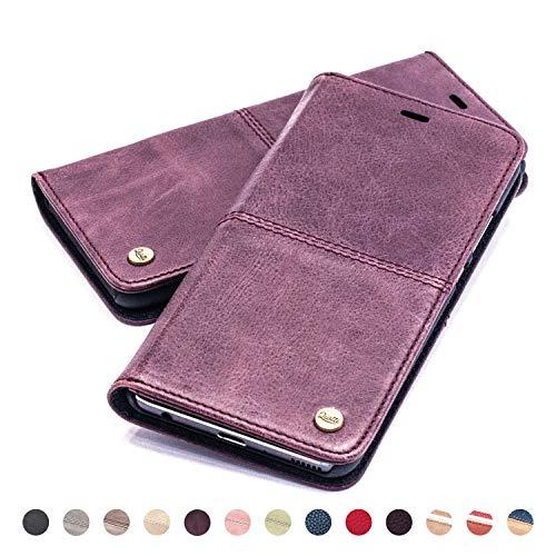QIOTTI Hülle Kompatibel mit Galaxy S9 Ledertasche aus Hochwertigem Leder mit RFID NFC Schutz Kartenfach Standfunktion, Lila