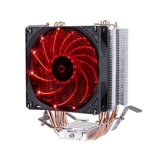 upHere 4 Heatpipes Prozessorkühler mit 92 mm PWM Lüfter - CPU Kühler für AMD und Intel Sockel bis Kühlleistung - Multkompatibel- Mit voraufgetragener MX-4 Wärmeleitpaste Rote,C92R (Cpu-lüfter Fm2)