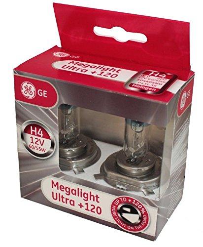 General Electric 50440SNU H4 12V 60/55W P43t MegaLight Ultra +120% Doppelbox (Lampen 120 Ge)