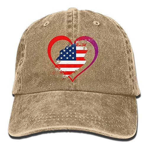 Aoliaoyudonggha USA Flag Heart Independence Day Unisex Adjustable Baseball Caps Denim Hats Cowboy Sport Outdoor