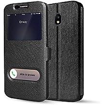 bdeals Slim Fit Funda [Ventana View] Carcasa con Funcion Soporte Cierre Magnético Case para Samsung Galaxy J5 2017 (J530), negro
