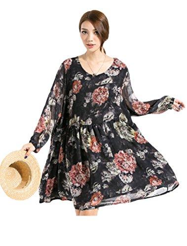 MatchLife Femme Neuf Mousseline O-Cou Floral Robe Noir