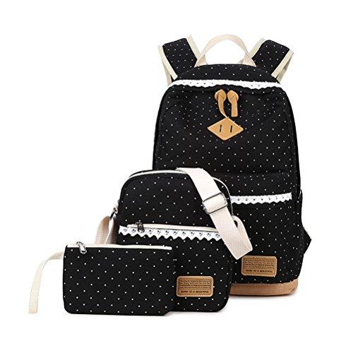 3 Teile Set Schulrucksack Mädchen/Damen, Rucksack Schule/Schulranzen + Schultertasche/Messenger Bag + Mäppchen/Purse-Typ A - Tot Drei Teile