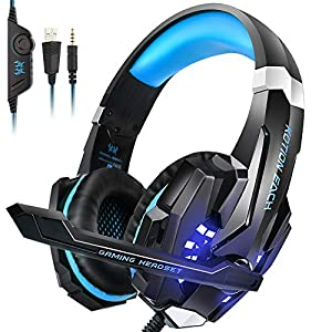 INSMART PS4 Headset, PC Gaming Headset Auch für Nintendo Switch, Xbox One & Laptop, 3.5mm Noise Cancelling Gaming Kopfhörer mit Mikrofon, Surround Sound System & Extra 3,5mm Y-Klinkenadapter