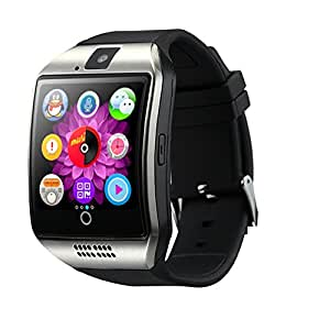 Jiyanshi Bluetooth Smart Watch (Silver)with All Function of Smartphones ||Q18 Smart Wrist Watch with Camera TF SIM Card Slot||Alarm & Stop Watch||Facebook||Whats App||Twitter Compatible for HTC Desire 626s