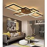 LED Deckenleuchte Modern Dimmbar Fernbedienung Lampen Deckenlampe Einfache Stil Eckig Designer Wohnzimmerlampe Metall und Acryl Schirm Flur Badlampe Wohnzimmer Esszimmer Büro Deko Leuchten (Schwarz, L145cm)