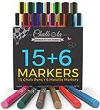 Rotuladores de tiza y colores metálicos–pack de 21–Rotuladores de tiza líquida para pizarra, pizarra, ventanas, etiquetas, Bistro–6mm punta redonda