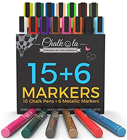Chalk Pens & Metallic Colours - Pack of 21 chalk markers - For Chalkboard, Whiteboard, Window, Labels, Bistro - 6mm Bullet