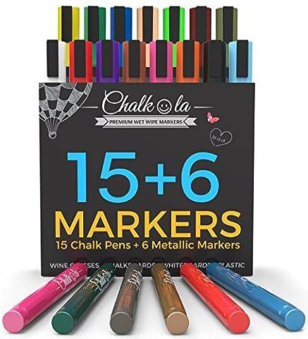 Feutres marqueurs craie + couleurs métallisées – Paquet de 21 marqueurs craie – Pour utilisation sur tableau noir, tableau blanc, fenêtre, étiquette – pointe ogive de 6mm