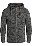 !Solid Pancras Herren Strickjacke Cardigan Grobstrick Winter Pullover mit Kapuze, Größe:S, Farbe:Black (9000)