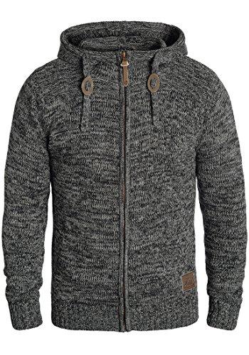 Baumwoll-strickjacke (SOLID Pancras Herren Zip-Hoodie Strickjacke Cardigan mit Kapuze aus 100% Baumwolle Meliert, Größe:L, Farbe:Black (9000))