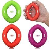KIDAC Silikon Handtrainer Ring Ergonomisch Griffkraft Trainer Fingertrainer für Frauen und Männer jeden Alters (ein Satz von 3 Stück 30lb 50lb 70lb)