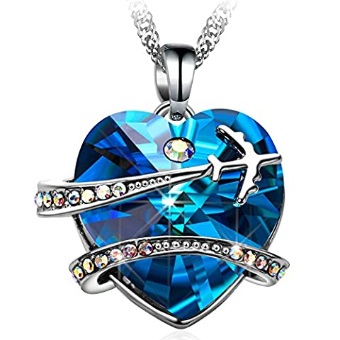 Collier Femme Pendentif Coeur - MURTOO Bijoux Cristal de Swarovski Cristal Bleu
