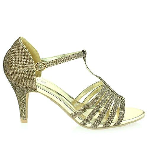 Femmes Dames Orteil Ouvert doigt T Barre Svelte Talon moyen Soirée Mariage Bal de Promo Sandale Chaussures Taille Marron