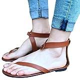 OYSOHE Sommer Damen flache Knöchel römische beiläufige Schuhe Thong Footwear Einfache flache Sandalen mit offenen Zehen Römerschuhe