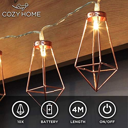 CozyHome Kupfer LED geometrische Lichterkette - 4 Meter Gesamtlänge | 10 LEDs warm-weiß | rose gold pyramidenform | Batteriebetrieben - 3x AA Batterien