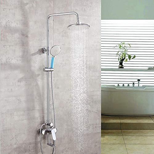 Moderne Dusche Set galvanisch Kupfer Dusche Wasserhahn Set 8 Zoll Top Spray Handbrause und Wasserhahn Dusche