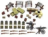 MAGMA BRICK Waffen-Set, Bunker, Waffen-Boxs, Stacheldraht, Dudelsack von Deutschen Soldaten Spezialtruppe im zweiten Weltkrieg für die Anpassung LG Minifigur