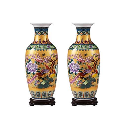 """Wenhui Satz von 2 großen Fischschwanz Keramik Bodenvase, Jingdezhen Blumenvase Handmade Home dekorative Vase, Höhe 17,7\""""(45 cm), golden"""