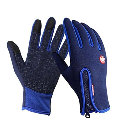 Speedrid Radfahren Handschuhe, Touchscreen Outdoor Sport Winter Bike Handschuhe, Wasserdicht Ajustable Größe Vollfinger Für Laufen Fahren Skifahren Skating Klettern (Blau, X-Groß)