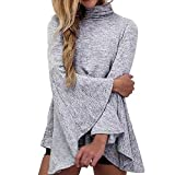 Damen Oberteile Strickpullover Sweatershirt Langarmshirt Bluse Sweater mit Trompetenärmeln Basic