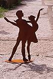 Dekostüberl Edelrost Paar tanzend auf Bodenplatte 35 x 26 cm, inkl. Herz 8x6cm Balett Tänzer Sport