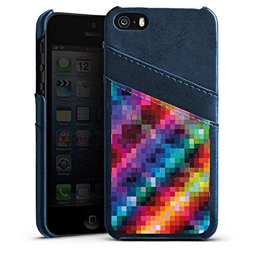 Apple iPhone 5s Housse Étui Protection Coque Pixel couleurs Motif Étui en cuir bleu marine