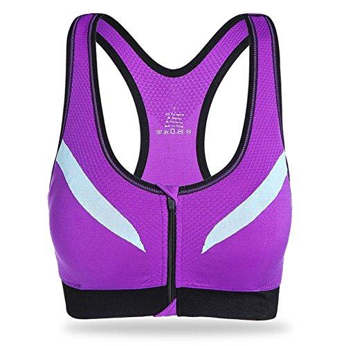 Patgoal Donne Fitness Yoga canotte chiusura lampo anteriore Reggiseno sportivo