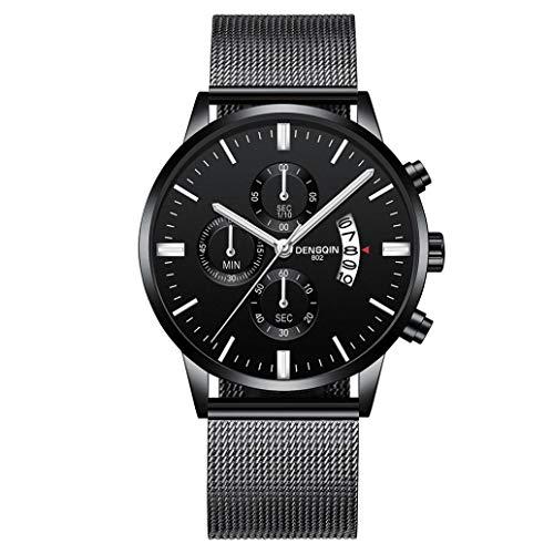 IK Herren-/Damen-Uhr Ø 40mm mit Milanaise-Armband Chenang Herren-/Damen-Armbanduhr mit Kalender Datumanzeige Multi-funktion Watch 808 Mesh mit einzelnen Kalender