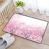 Rutschfeste Badematte 45x75cm,Hellrosa, japanischer Kirschblüten-Sakura-Baum mit romantischem Einfluss asiatisches Naturthema, Baby-Rosa,,Badteppich auswaschbar Mikrofaser Teppich für Badezimmer