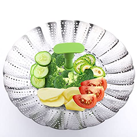 Stainless Steel Steamer, PEMOTech 100% Stainless Steel Vegetable Steamer Basket Folding Steamer Insert with Extendable Handle for Veggie Fish Seafood Cooking,7-Inch Expands to 11-Inch