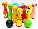 Toys of Wood Oxford Wooden Skittles Set Animal Faces 12 Pieces large size