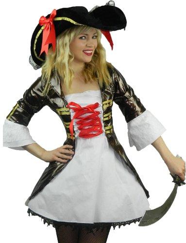 raten Karneval Fasching Kostüm Damen + Hut Schwert Entermesser Musketier Größe 34 - 44 (34-36) ()