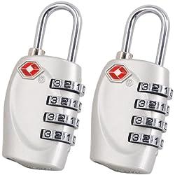 2 x TRIXES candados con combinación de 4 números para equipaje en color plata