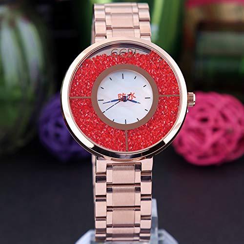 WZFCSAE Damenuhr Casual Stahl Gürtel Quarzuhr Persönlichkeit Große Zifferblatt Uhr Damen Rot