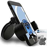 iTALKonline iHOLDER Apple iPod Touch 4th Generation (4G) Black COMPACT 360 Degrees Rotating In Car Case Compatible Wind Screen Dashboard Suction Mount Holder