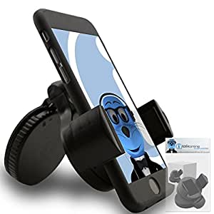 iTALKonline iHOLDER ZTE V875 Black COMPACT 360 Degrees Rotating In Car Case Compatible Wind Screen Dashboard Suction Mount Holder