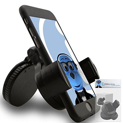 iTALKonline iHOLDER LG X Mach Schwarz Multi-direktionale Kompakte 360 Grad im Auto Fall kompatibel (Nutzung mit oder ohne Ihre vorhandenen Fall!) Windschutz Dashboard Saugeinfassungs Halter