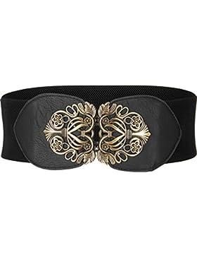 BlackButterfly Cinturón Elástico de Corsé de Cintura de 8 CM con Hebilla Antigua