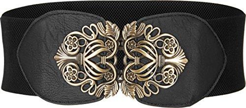 BlackButterfly 3 Zoll Breit Korsett Elastische Vintage Taillengürtel (Schwarz, EUR 42-44)
